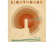 Kilauea Lighthouse - 12 x 18 Retro Hawaii Print