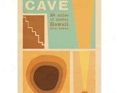 Kaumana Cave - 12x18 Retro Hawaii Travel Print Series