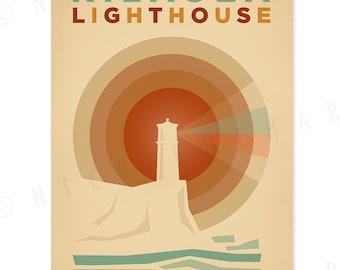 Kilauea Lighthouse - 12 x 18 Retro Hawaii Print