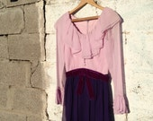 Vintage 1960s purple ruffle party dress Size Small