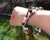 Polka Dot Dione Dalmation brown black Memory Wire wrap bracelet (25% of item purchase donated to Levine Children's Hospital)