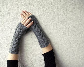 SALES Fingerless Gloves Knit , Fingerless Gloves, Grey Long Hand-knitted Cabled, Wrist Warmers, Gloves & Mittens