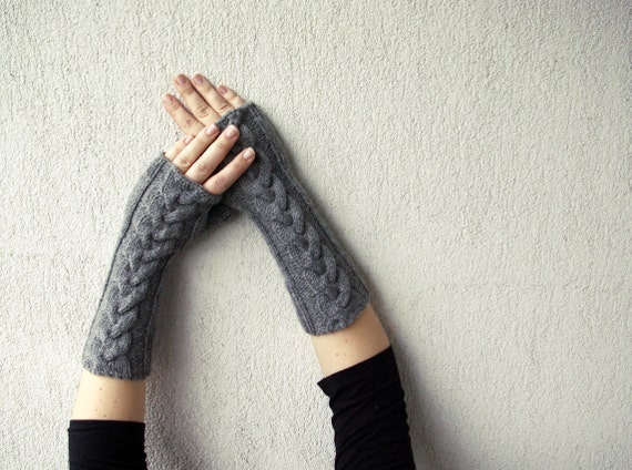 Fingerless Gloves Knit , Fingerless Gloves, Grey Long Hand-knitted Cabled, Wrist Warmers, Gloves & Mittens
