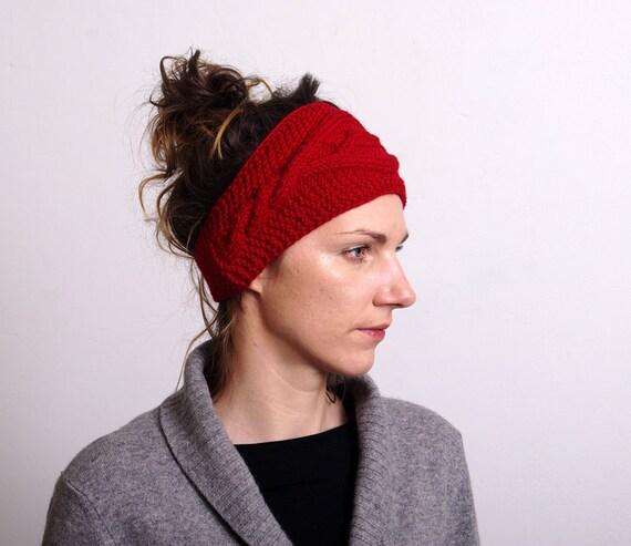 Knit Headband Pattern Button Closure : CIJ SALE Cable Hand Knit Headband Ear Warmer Hair Band by mareshop