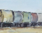 "Train art, rail road, engines, children art. Soo Cool EMD SD60- Original Watercolor Painting. 5"" x 28.5."