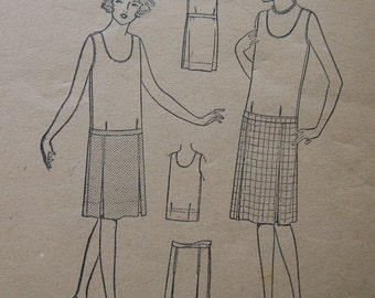 Fabulous Vintage 20's Two Piece Dress Pattern FLAPPER FREEDON