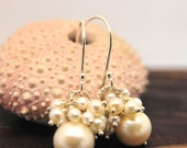 White Pearl Cluster Earrings, Bridesmaid White Pearl Cluster Earrings, White Cluster Pearl Earrings, June Birthstone Earrings