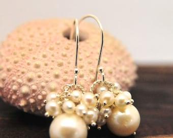 White Pearl Cluster Earrings, Bridesmaid White Pearl Cluster Earrings, White Cluster Pearl Earrings, June Birthstone Earrings