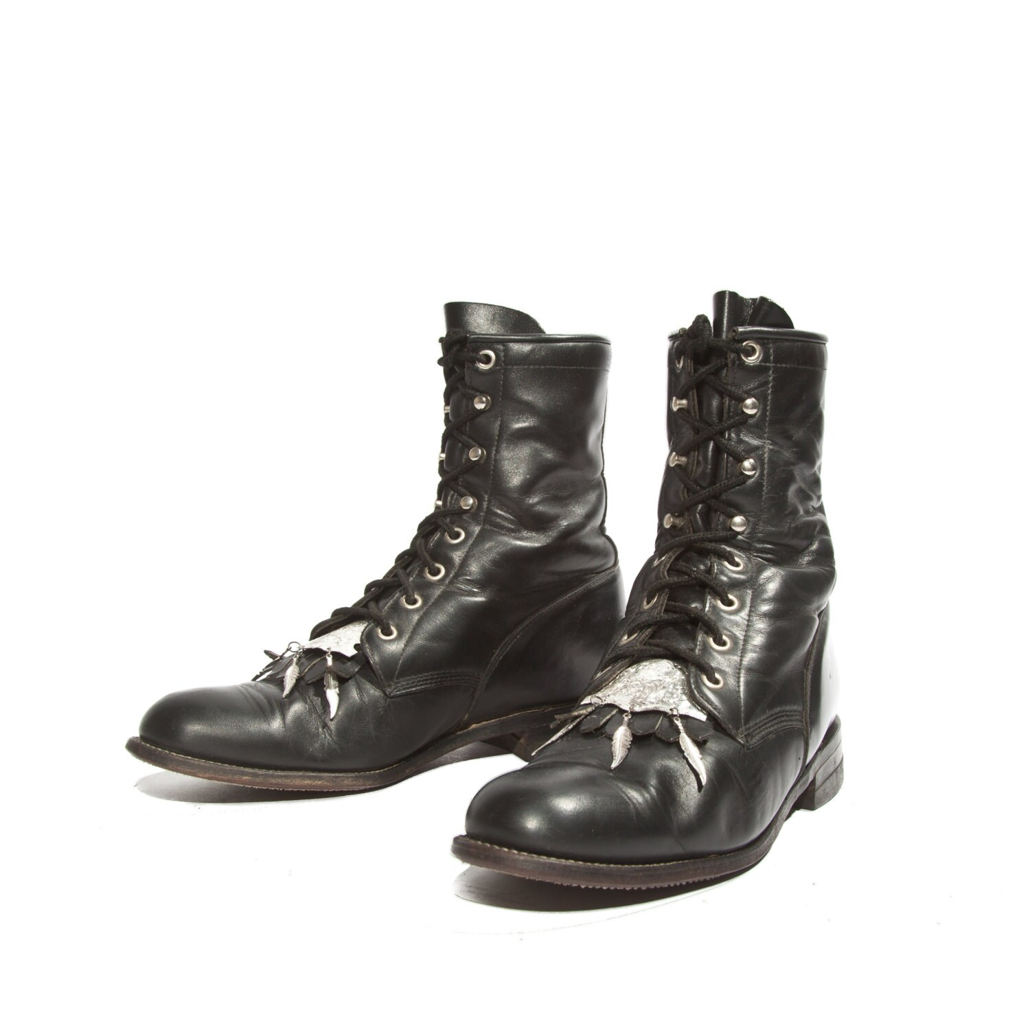 s justin roper lace up boots in black leather by shopndg