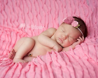 Headband - Felt Flower Headband - Trio of  Roses in Dusty Rose and Cotton Candy Pink - Newborn Baby to Adult