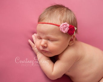 Baby Felt Flower Headband - Pair of Wool Felt Rosebuds in Red and Pink - Newborn to Adult