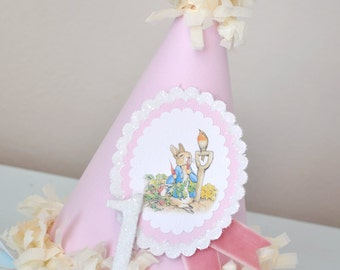 Girls Peter Rabbit Birthday Party Hat, Special Occasion, Photo Prop