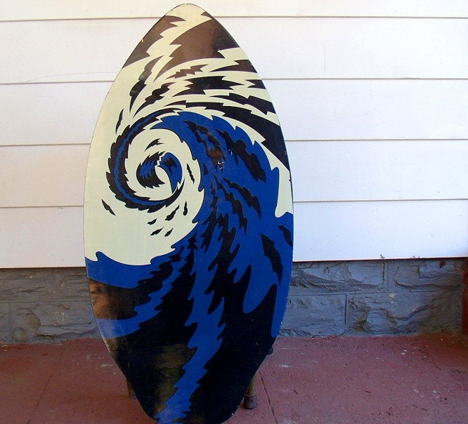 Vintage Lacquered Art Wooden Skim Board Retro Ocean Surf