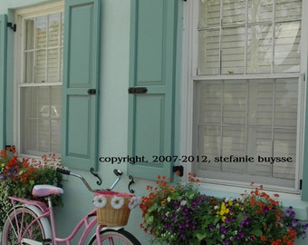 Pink Beach Cruiser on Rainbow Row Photo, Charleston, South Carolina