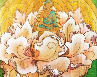 Buddha in a Lotus Flower - meditation art print - spiritual / zen art - altar art