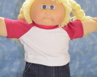 """Cabbage Patch Doll Clothes - for 16"""" - 18"""" Girl Dolls - Pink and White T-Shirt - Handmade"""