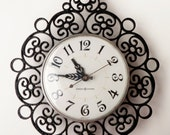 Vintage Electric Wall Clock Black Scroll Work Retro GE USA