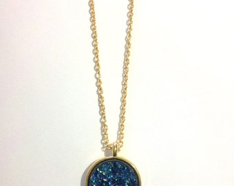 Aqua Moon Druzy Long Aqua Druzy Pendant Necklace festival fashion coachella