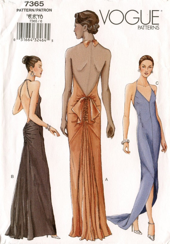 Vogue 7365 Misses Dress Pattern Bias Cut Evening by GreyDogVintage