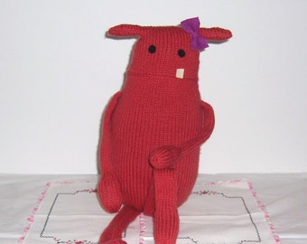 """Monster Toy  Knit Doll """"Miss Coral""""  Pink Coral Yarn Child/Pet Friendly Handmade"""