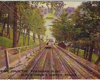 Crazy Extreme Sports in the Early 1900's Toboggan Slide Black Hawk's Watch Tower Vintage Postcard