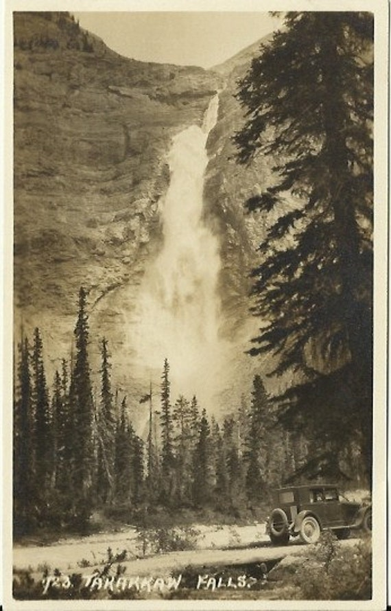 Antique Postcard Real Photo RPPC Takakkaw Falls Canadian Pacific Railway - Early 1900s