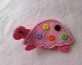Turtle Pink with Colored Spots Hair Clip-READY TO SHIP