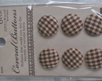 6 pcs Brown checked covered buttons
