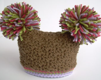 Crochet Baby Girl Hat with Pom Poms, Chocolate Brown with Raspberry Pink, Lilac Purple, and Sweet Pea Green, 0 to 18 months