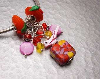 Big Hole Charm Bracelet Dangle - Fantasy Garden - Handmade Sra Lampwork Sterling