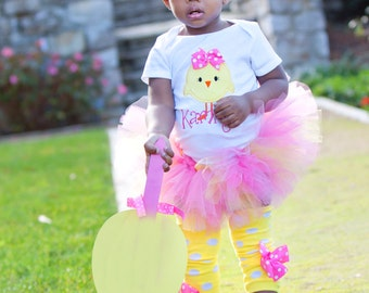 Baby Girl Easter Tutu Outfit -- Hot Pink Chickie -- tutu, bodysuit, leg warmers and Over The Top bow -- pink and yellow