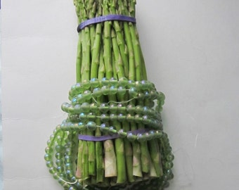 Iridescent  Vintage Asparagus Green Glass Bead