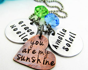 You Are My Sunshine - Personalized Necklace - Mixed Metal Cluster Necklace - Hand Stamped Jewelry - Mom Necklace Birthstone Necklace (100)