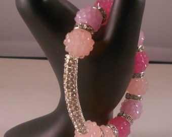 Pink Glitz Silver Bar Bracelet Basketball Wives Inspired Poparazzi