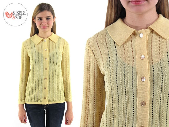 60s Cardigan / Yellow Cardigan / Pointelle Knit Cardigan / xs / sm