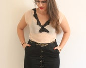 Vintage Black Classic Button Down Pencil Skirt With Pockets - CLEARANCE SALE!