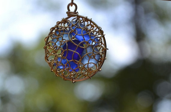Sale-Blue Genuine Sea Glass Hand KnittedGold Plated Wire Pendant with Necklace