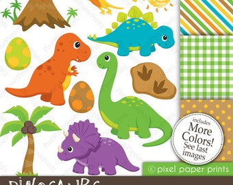 Dinosaur clipart - DINOSAURS - Clipart and Digital Paper Set