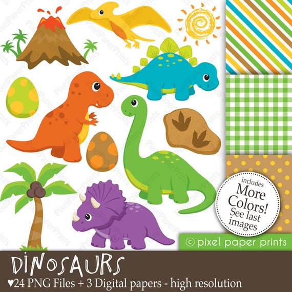 Dinosaurs - Clipart and Digital Paper Set