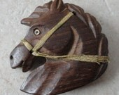 Vintage HORSE BROOCH / PIN - Hand Carved Wood