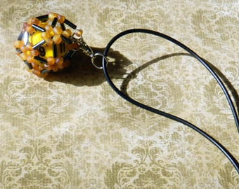 Amber, oilsheen,  Dice cage, dice jewelry, d20, dice necklace, dungeons and dragons, rpg, tabletop gaming, gamer, nerd, geek, gamers