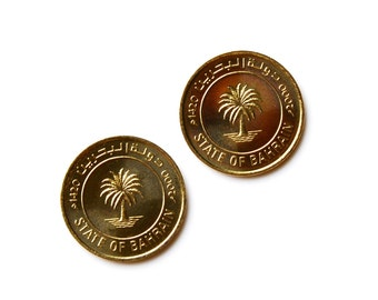 Bahrain Coin Cufflinks - Men's Jewelry - Handmade - Gift Box Included