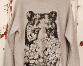 Popcorn Bear Jumper  Bear Sweater Black Bear Animal Sweater  Cool Gift  Unisex Jumper