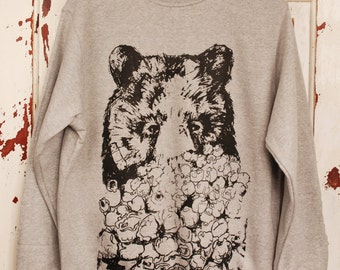 Popcorn Bear Jumper - Bear Sweater Black Bear Animal Sweater - Cool Gift - Unisex Jumper