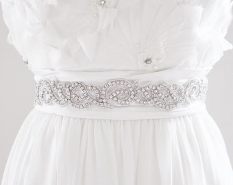 ALISA - Beaded Bridal Sash, Wedding Belt