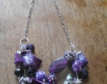 Plum Crazy Cluster Necklace