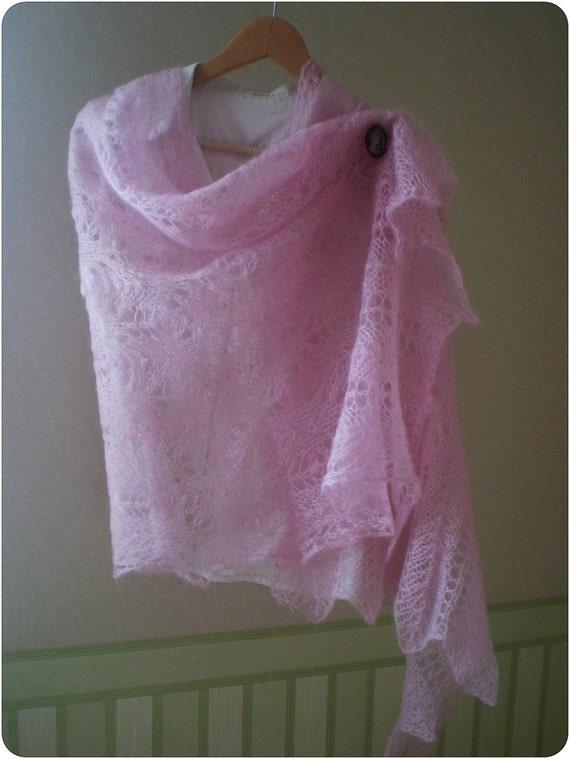 Pale pink lace scarf  hand knitted mohair  wrap SALE 35% OFF