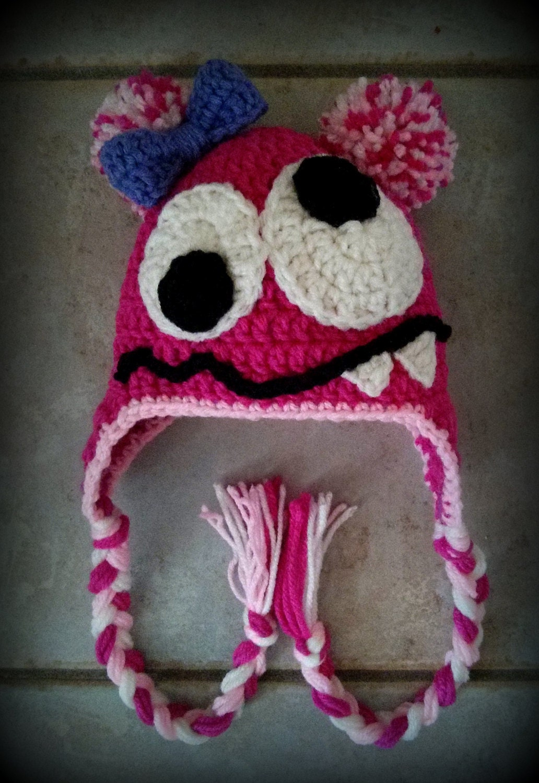 Girl Monster Hat Crochet Hats Baby Girl By Loopsydaisydesign