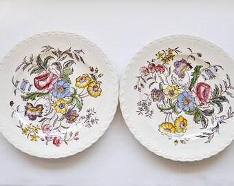 Pair Vintage Vernonware Mayflower Plates