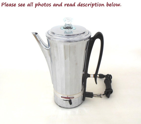 GE Coffee Percolator P50 General Electric Chrome Kitchen